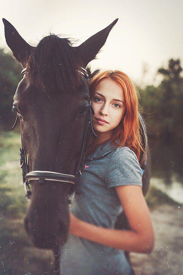 девушка, модель, лошадь, природа, Руслан