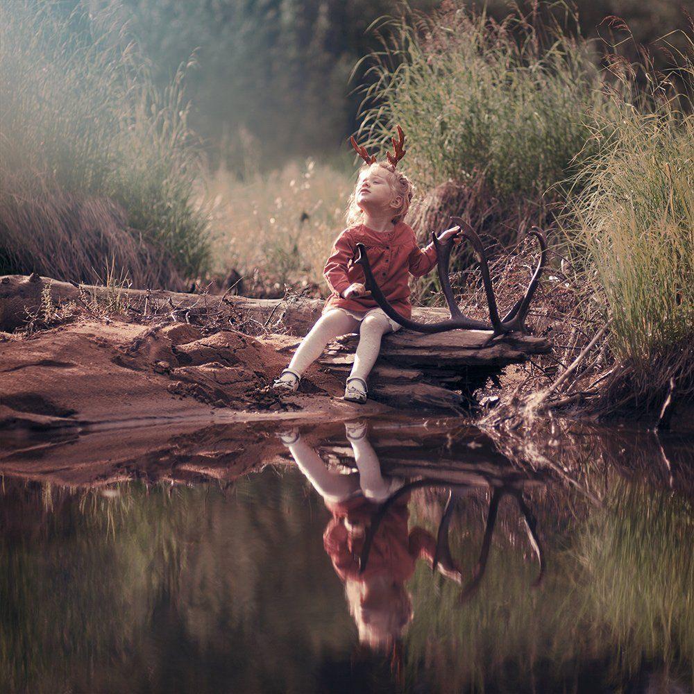 Forest, Girl, Lake, Sun, Sunset, Анна Гражданкина