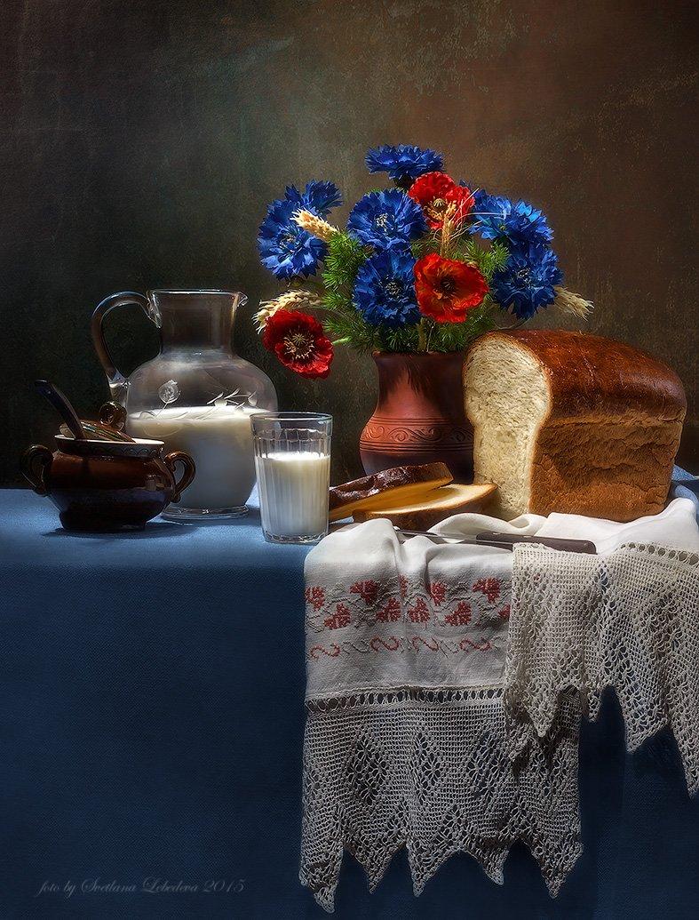хдеб,васильки,молоко,кувшин,стакан, Лебедева Светлана