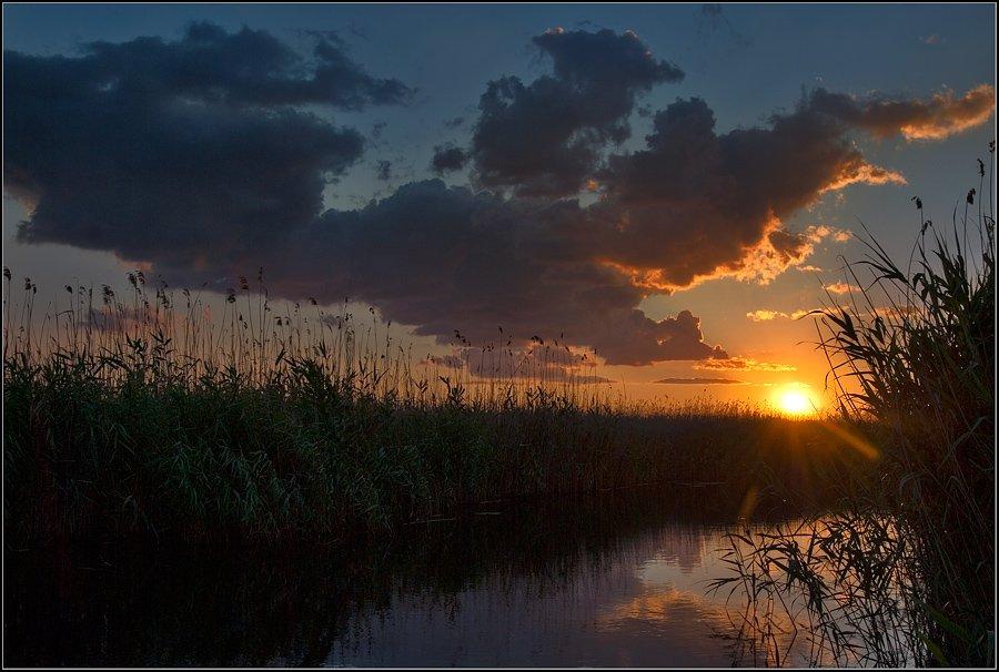 пейзаж, река, днепр, рыбалка, вечер, закат, солнце, lad_i_mir