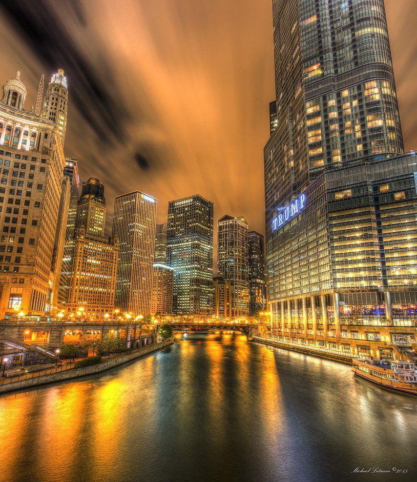 Chicago, city, night, music, wind, lights, river, nocturne, Michael Latman