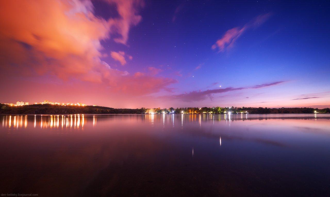 пейзаж, ночь, река, озеро, звёзды, небо, отражение, облака, закат, сумерки,  Украина, Запорожье, Хортица, Денис Белицкий
