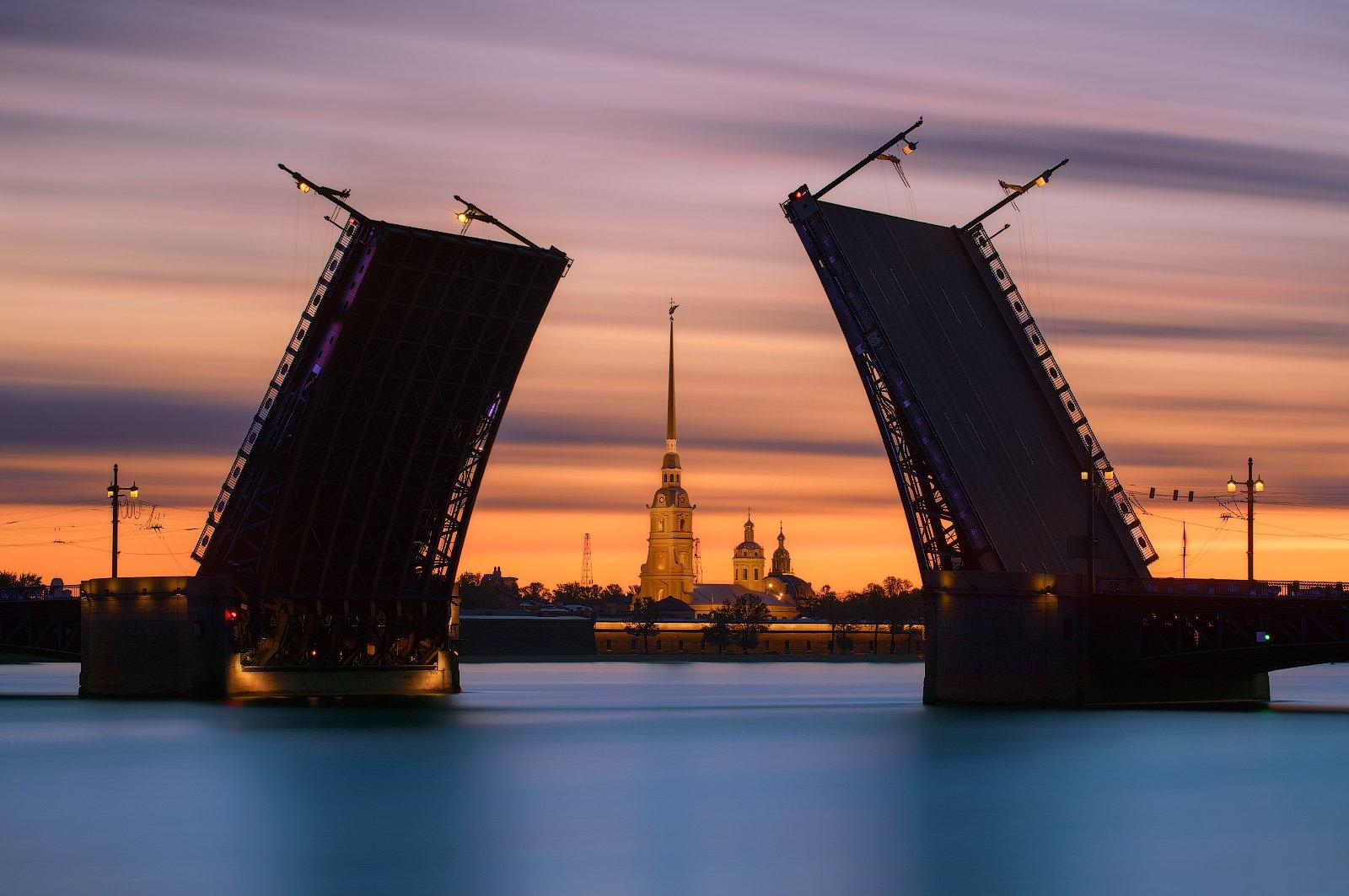 белые ночи, дворцовый мост, длинная выдержка, петпропавловка, рассвет, санкт петербург, Sergey Louks