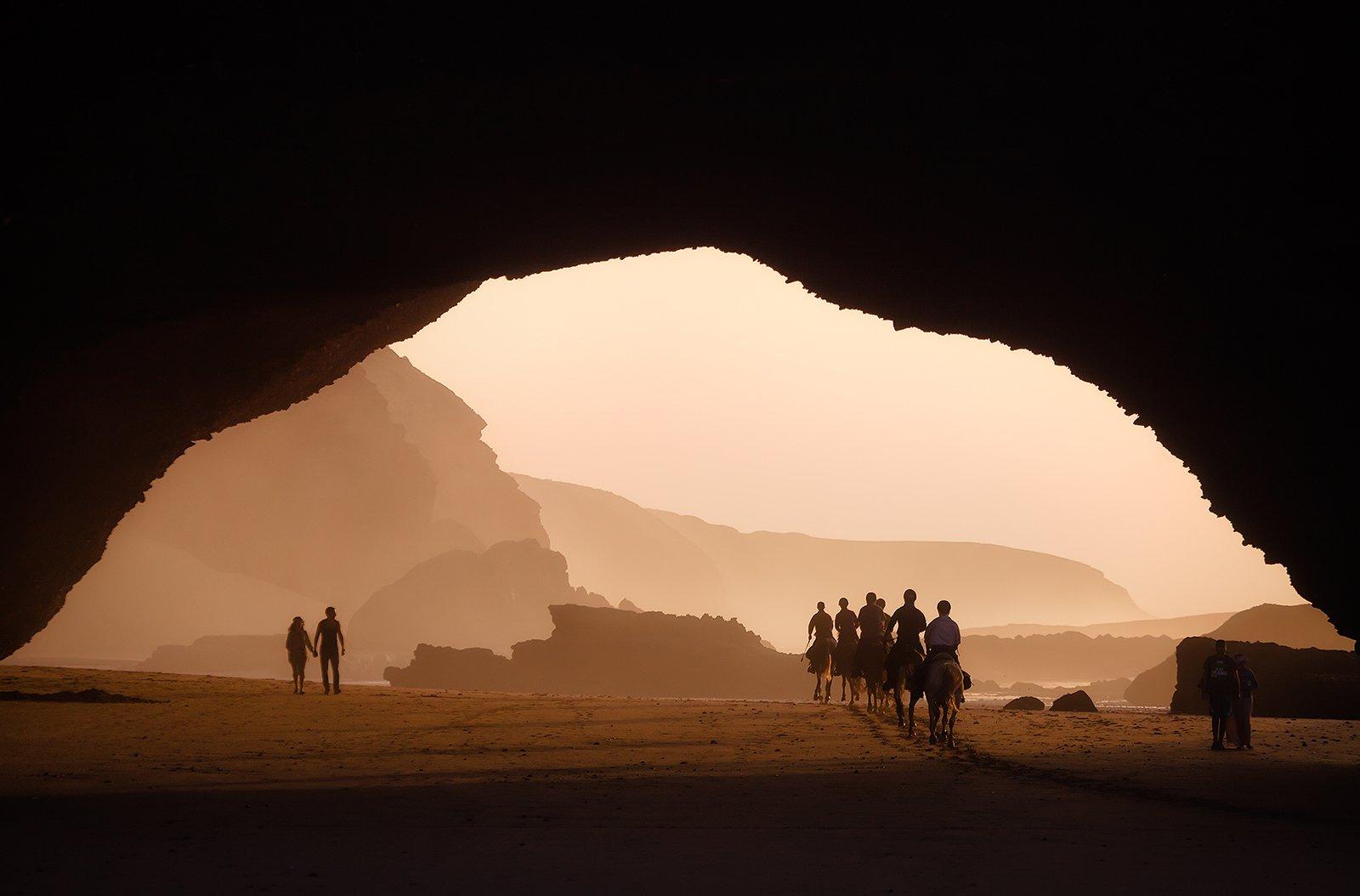 марокко, пляж, скала, закат, побережье, вечер, Бирюков Юрий