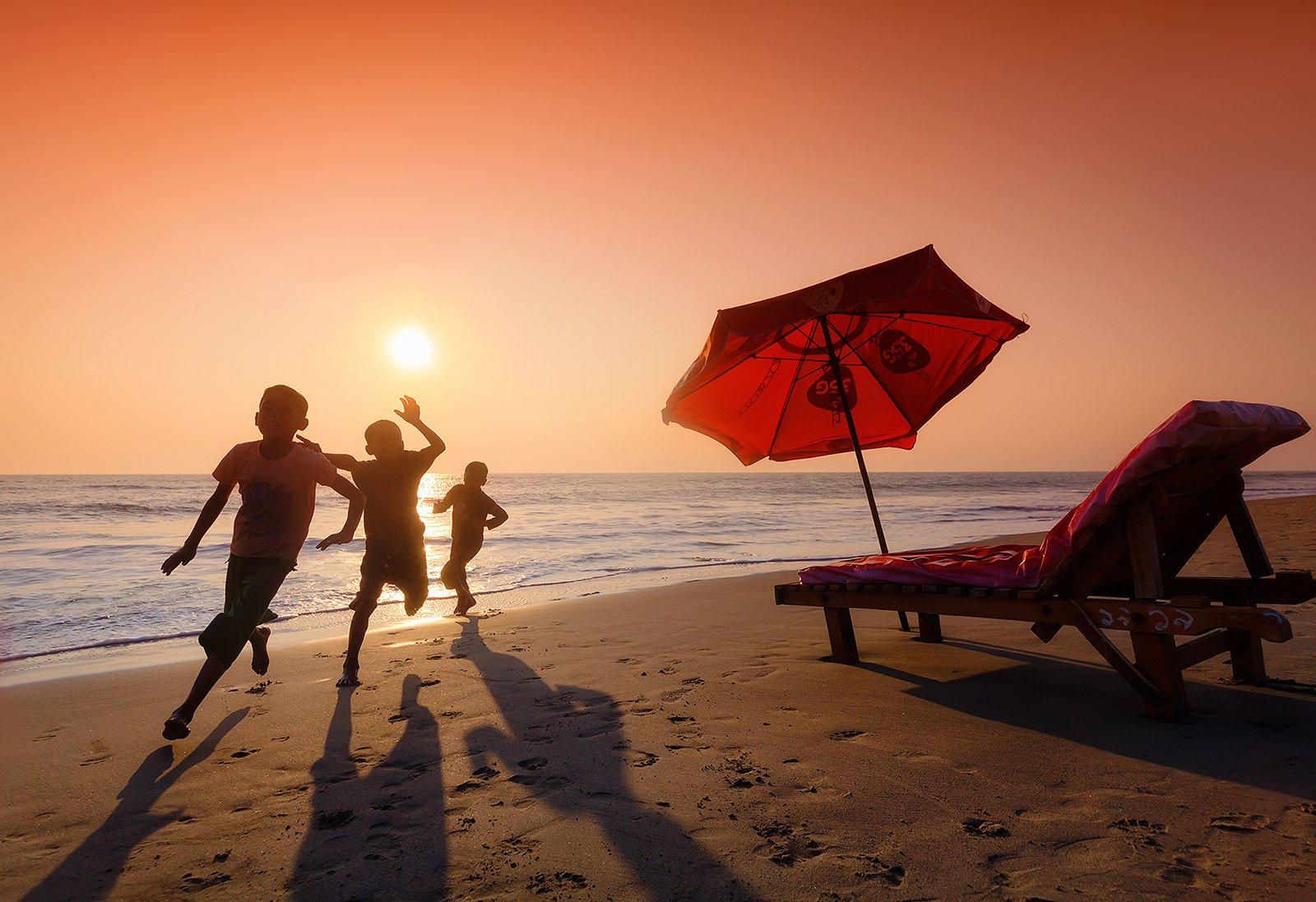 бангладеш, кокс базар, закат, дети, пляж, оранжевый, Бирюков Юрий