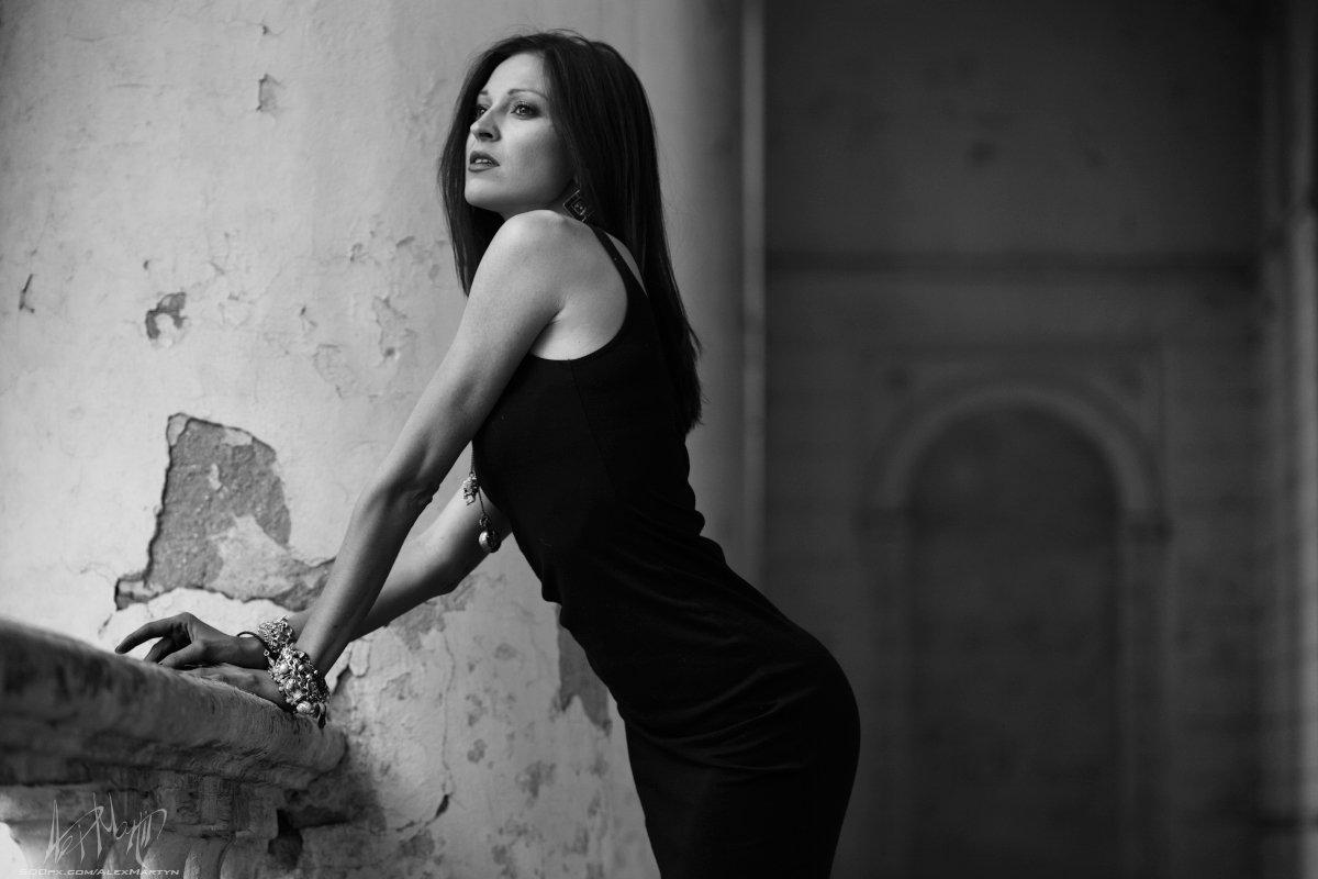 девушка платье, черный, черно-белый, портрет, анна, взгляд, Александр Мартынов