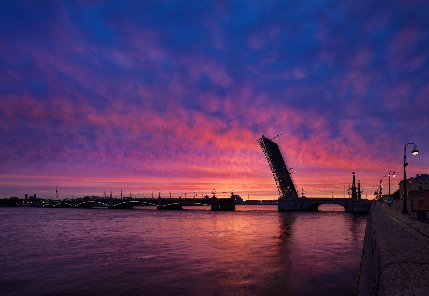 Белые ночи, Лето, Нева, Рассвет, Санкт петербург, Троицкий мост, Sergey Louks