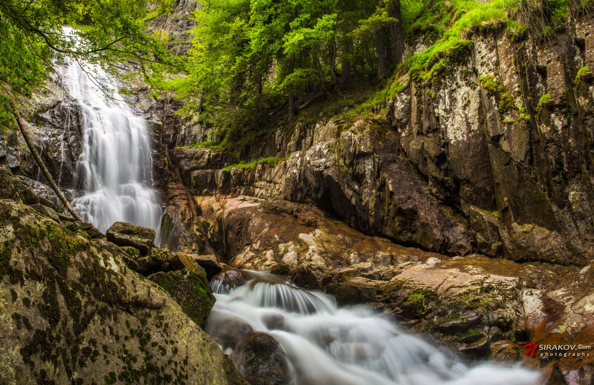 waterfall, spring, forest, mountain, rock, water, trees, landscape, Николай Сираков