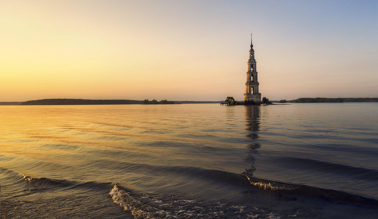 Пейзаж, закат, вода, колокольня, церковь,вечер, природа, архитектура, Ефимов Александр