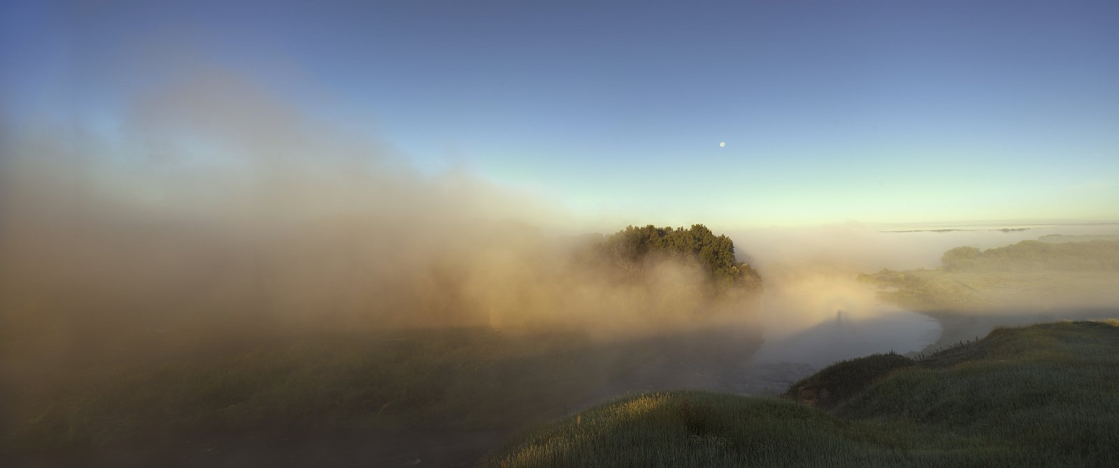 landscape, nature, light, summer, sunrise, river, mist, fog, Ефимов Александр