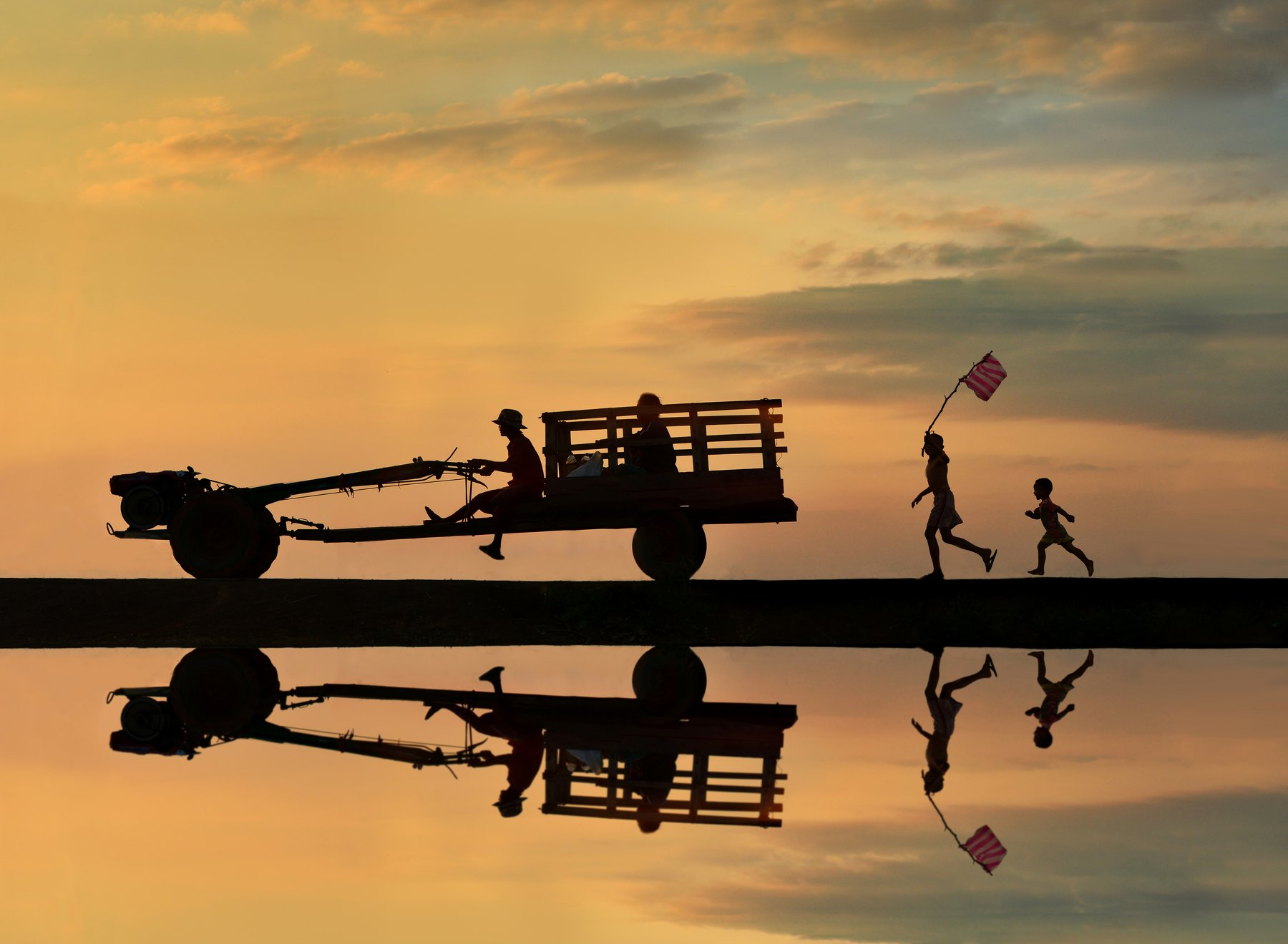 Cycling, Bicycle, Scenics, Sunset, Lake, Reflection, People, Two People, Nature, Silhouette, Thailand, Atmospheric Mood, Beauty In Nature, Cloud - Sky, Color Image, Horizontal, On The Move, Outdoors, Photography, Sky, Sunlight, Togetherness, Transportatio, sarawut intarob