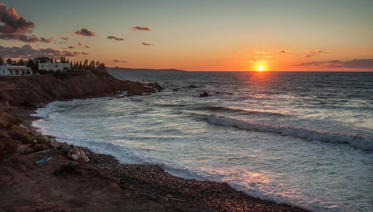 Sea, Sunset, Waves, Волны, Закат, Море, Kolebidenko Vladimir