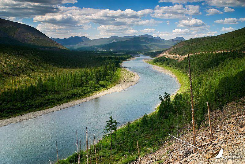 река, сопки, лес, буюнда, путешествие, вода, облака, Ворон