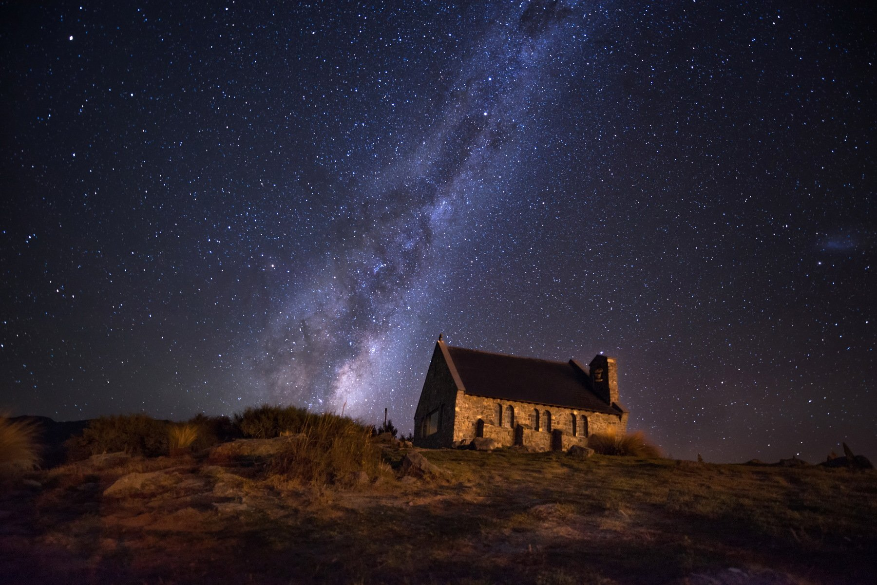 Lake Tekapo, New Zealand, Horizontal, Landscape, Night, Church, Beauty In Nature, Built Structure, Celebrities, Christianity, Church Of The Good Shepherd, Color Image, Grass, Milky Way, Nature, No People, Outdoors, Photography, Sky, Tekapo, Tranquility, T, sarawut intarob