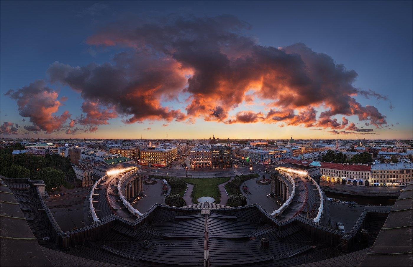 Казанский собор, Крыша, Невский проспект, Панорама, Рассвет, Санкт петербург, Утро, Sergey Louks