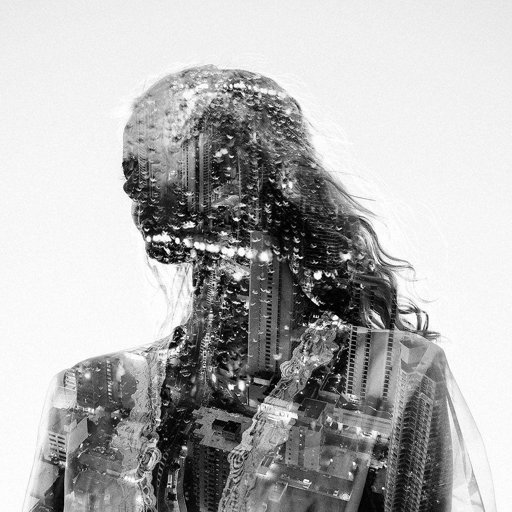 девушка, мультиэкспозиция, фотография, чб, город, Mike Batenev