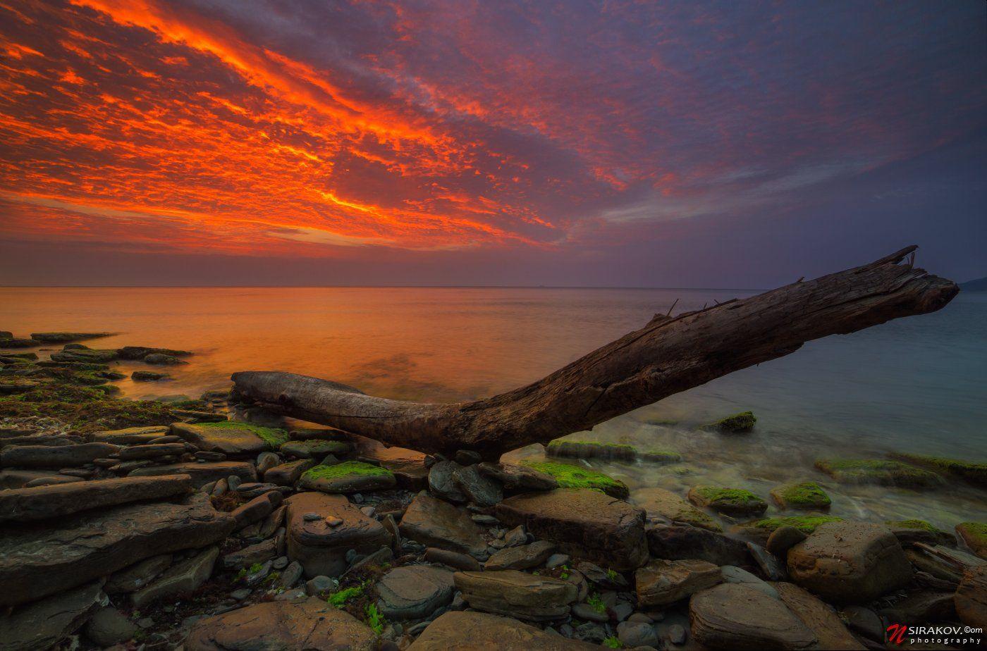 Морской пейзаж, Облака, Рассвет, Черное море, Николай Сираков