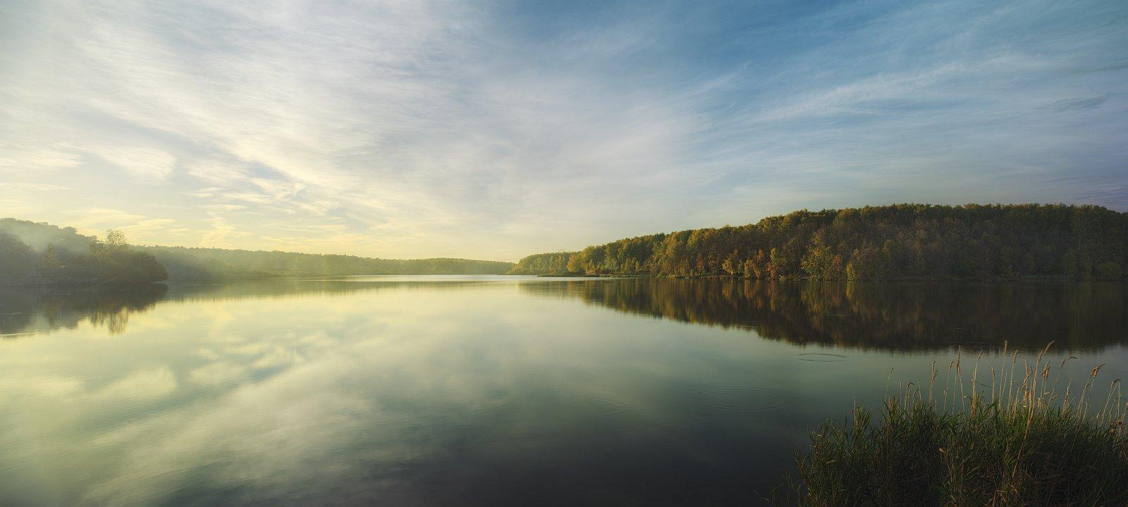пейзаж, панорама, природа, река, вечер, осень, закат, Ефимов Александр