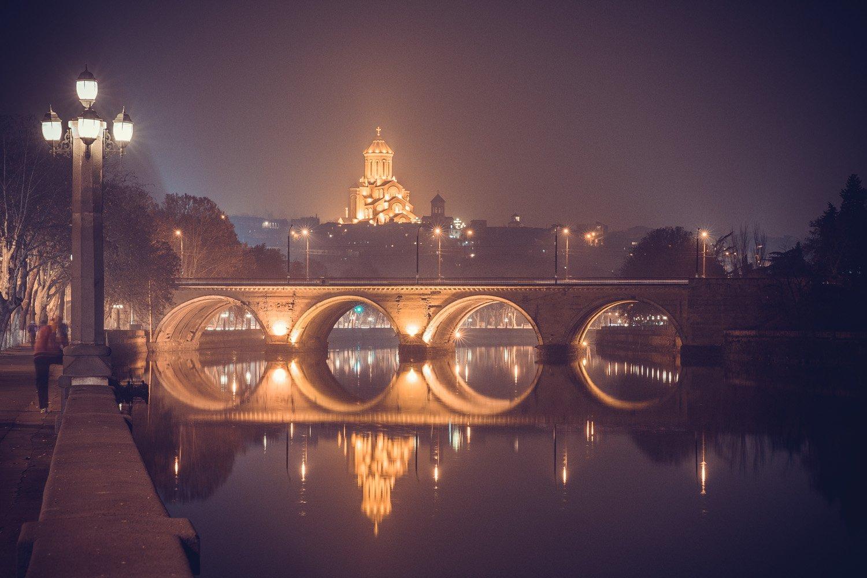 Ночь, мост, Тбилиси, Грузия, собор, река, огни, Илья Беленький