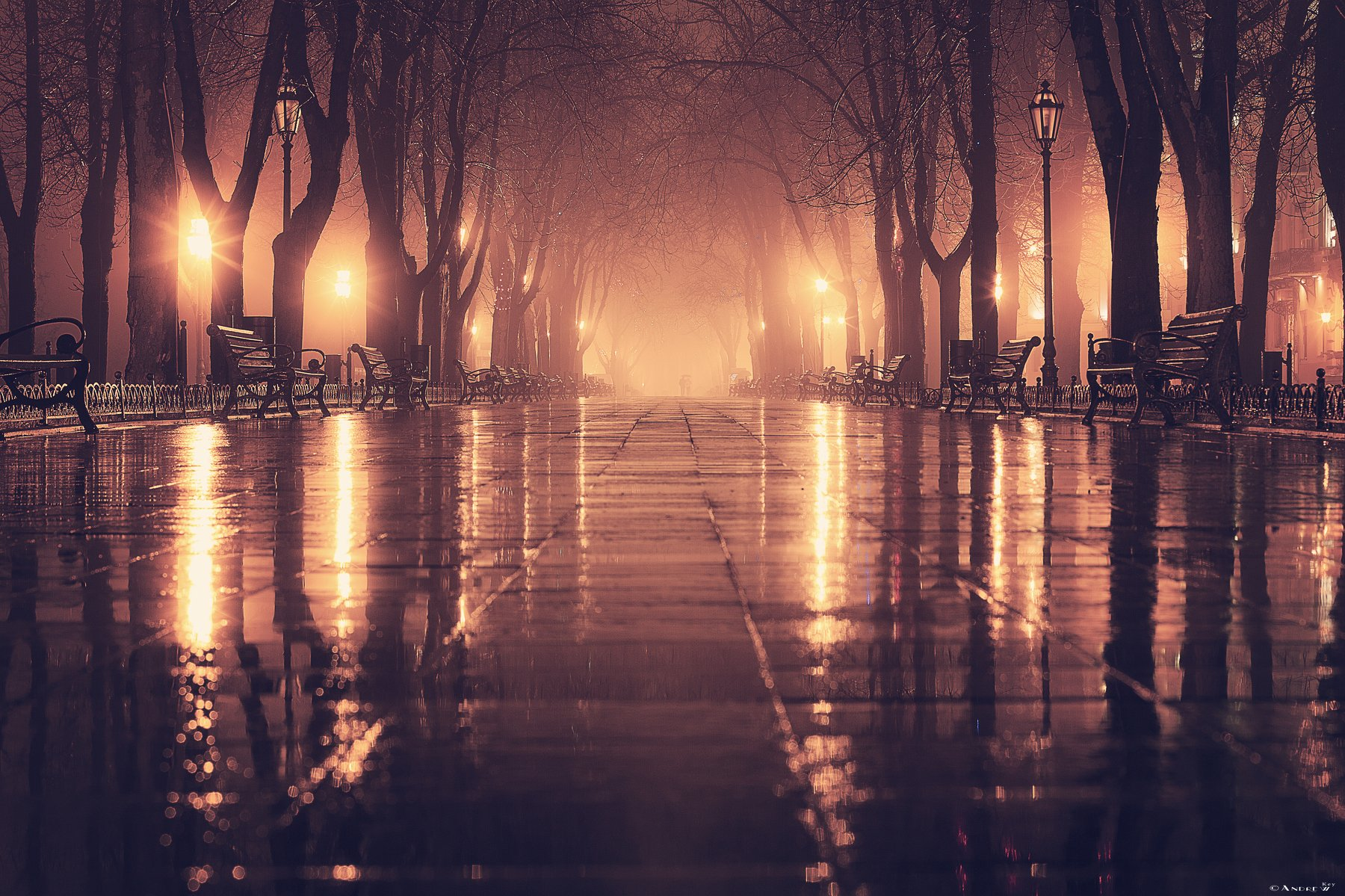 город,ночной город,туман,дождь,огни, Andrew Key
