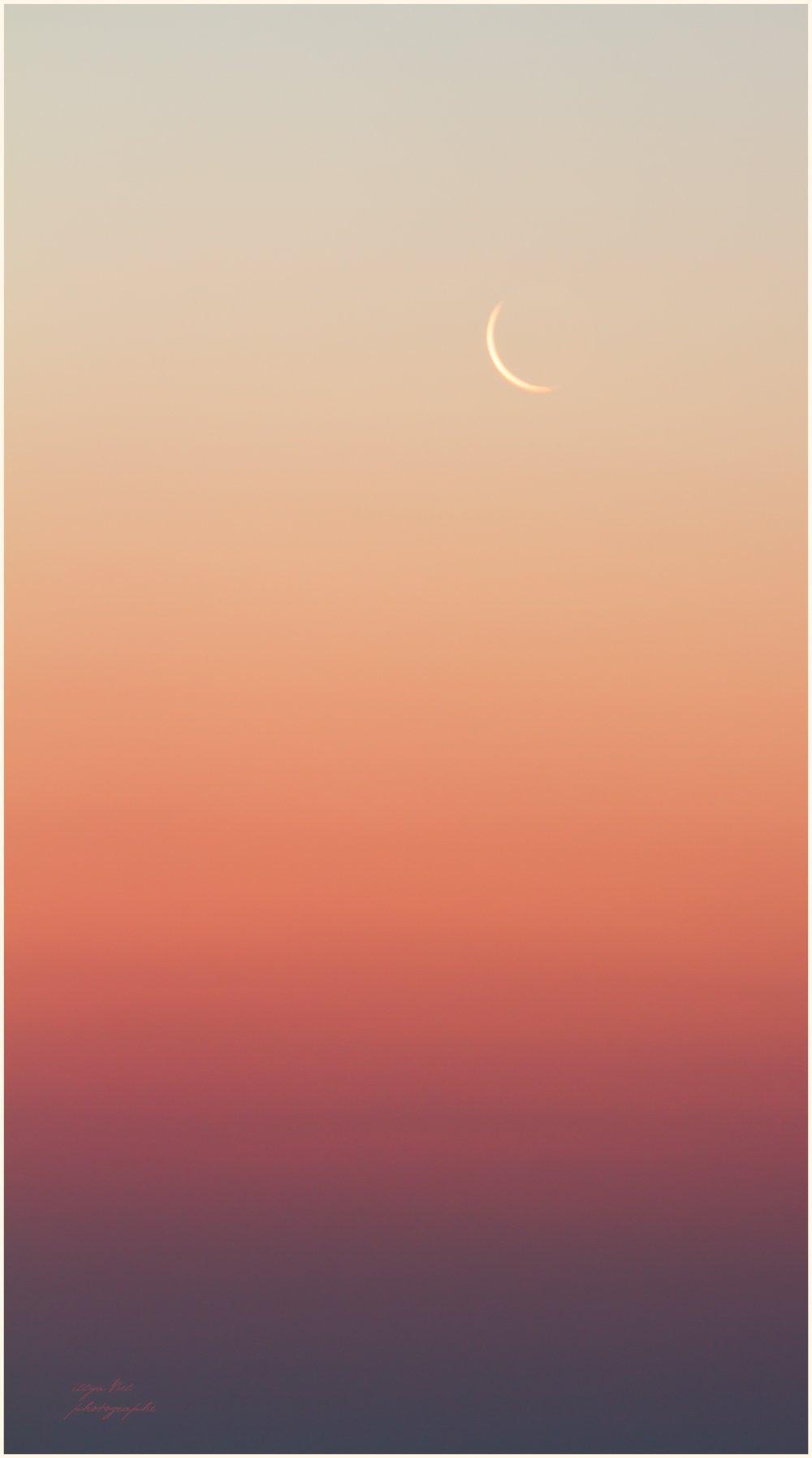 Крым, месяц, рассвет, градиент, цвета, Илья Беленький