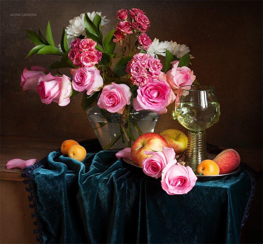 натюромрт, розы, цветы, букет, бокал, ремер, фрукты, яблоки, Alina Lankina