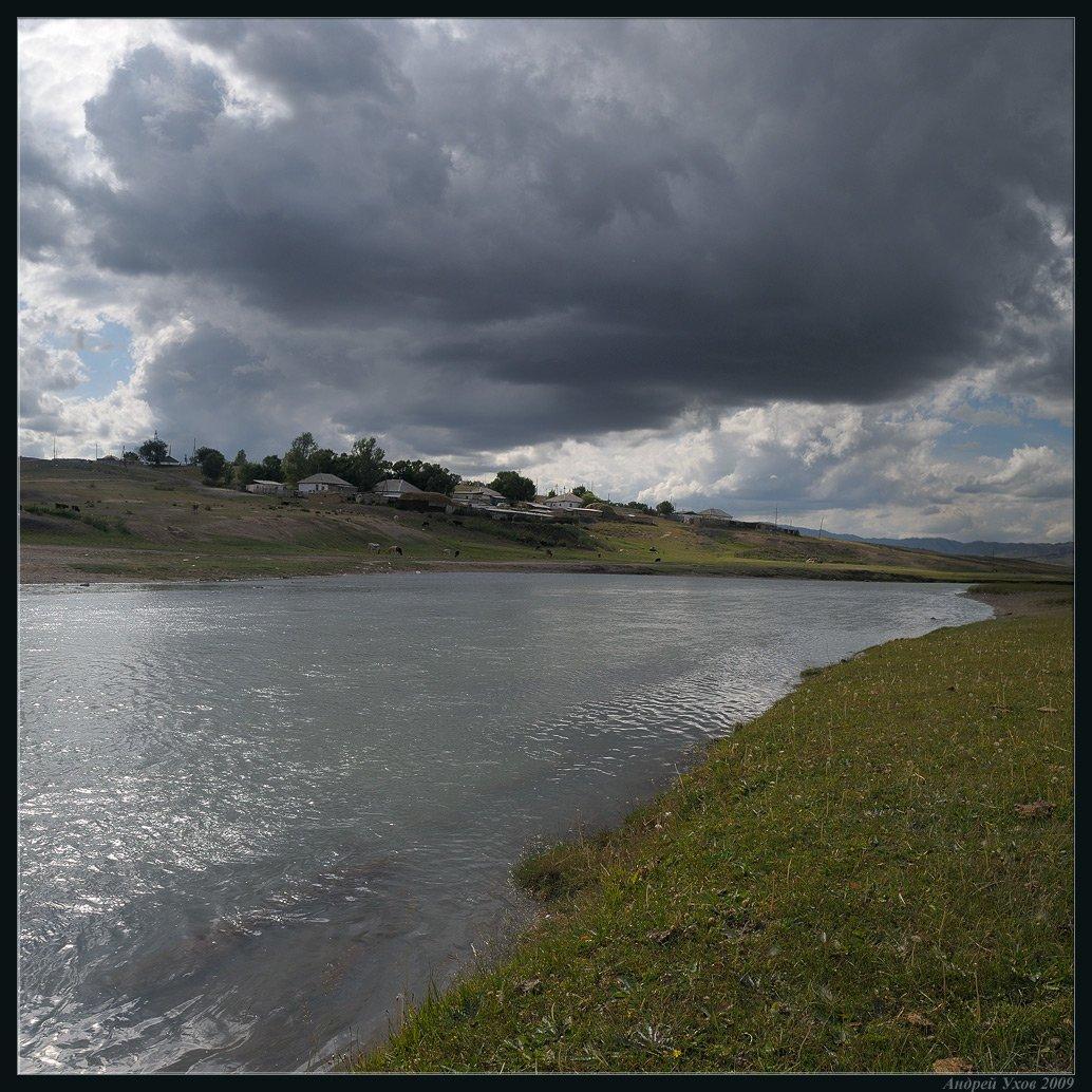 лето,долина,река,вода,поселок,берег,трава,непогода,тучи,буря,гроза, Андрей Ухов