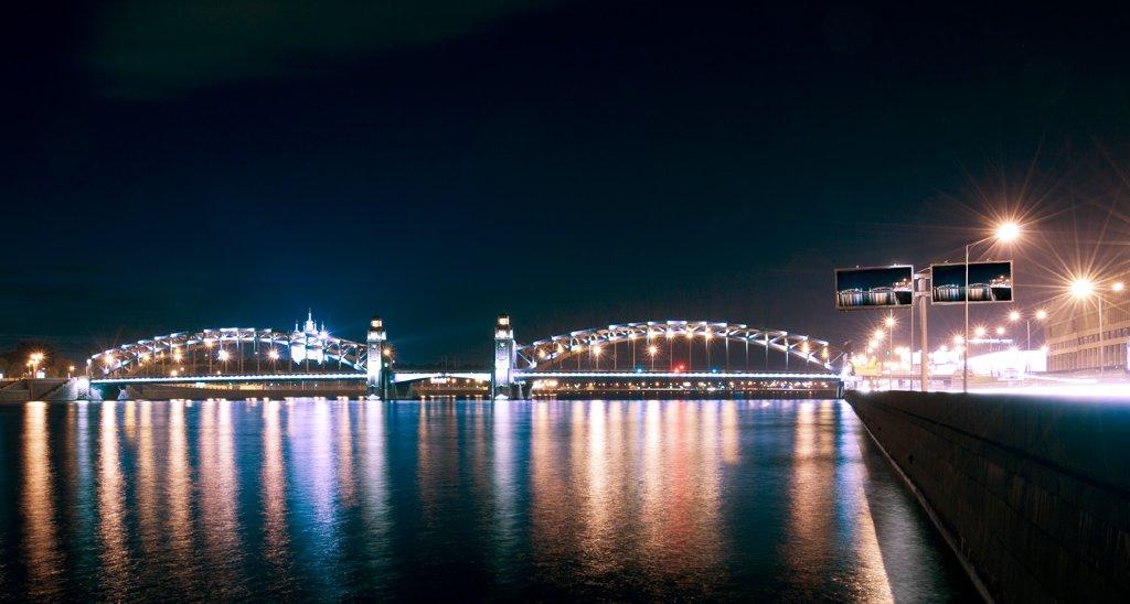 большеохтинский мост,смольный,нева,ночь,, Евгений Пугачев.