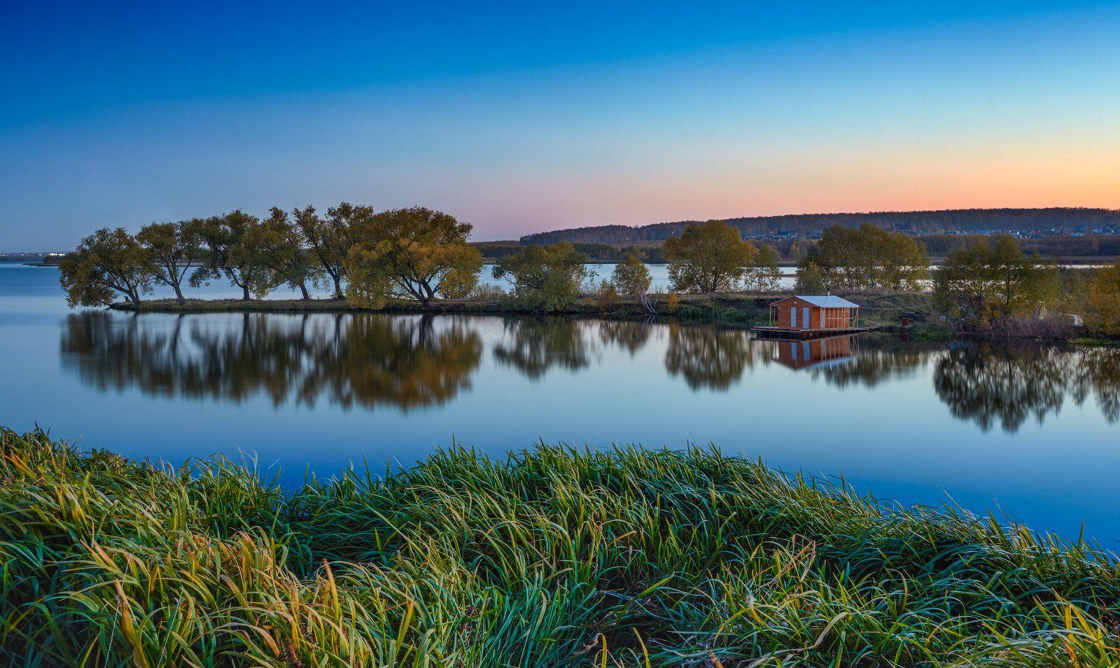 осень октябрь челябинск баня трава закат, Михаил Трахтенберг ( t_berg )