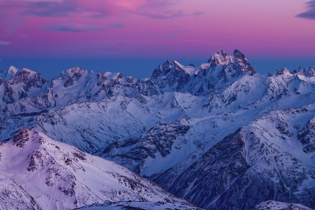 Горы, Закат, Кавказ, Приэльбрусье, Ушба, Эльбрус, Войчук Владимир
