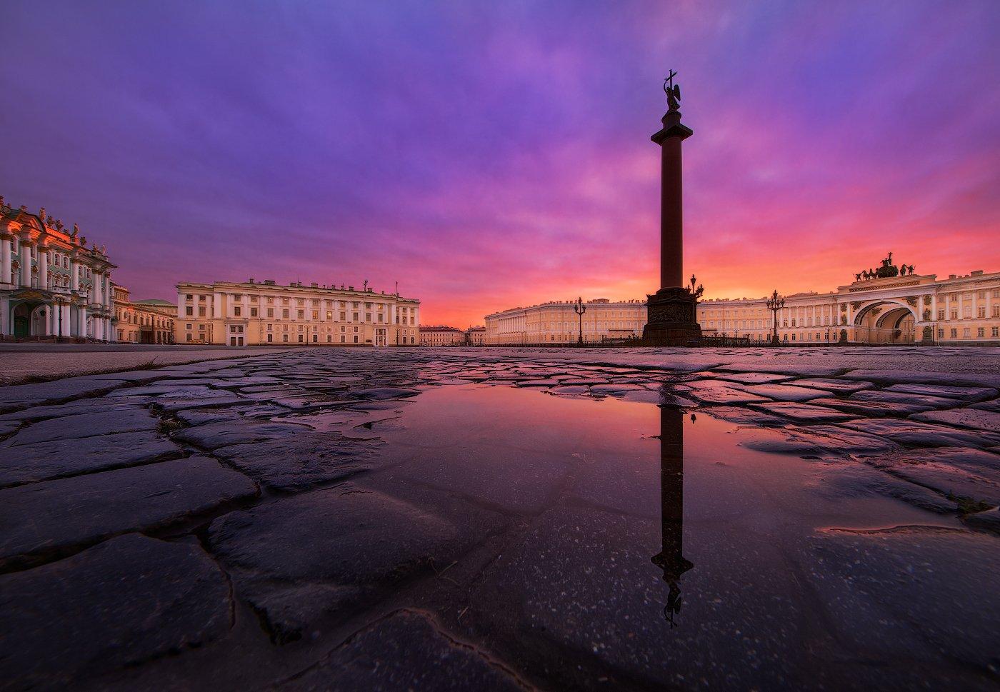 Дворцовая площадь, Осень, Отражения, Рассвет, Санкт петербург, Эрмитаж, Sergey Louks