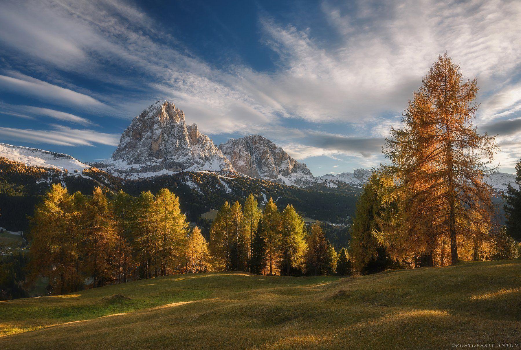 Доломиты, Италия, Осень, горы, закат, Антон Ростовский