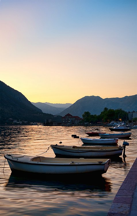 черногория, вечер, лодки, пейзаж, BezOdezhdi