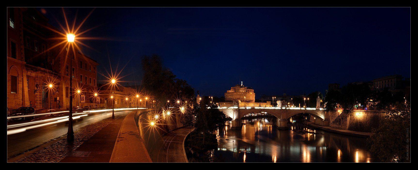 рим, ночной рим, замок святого ангела, sant'angelo, римский папа григории великий, ангел, крепость, Alexandr da Vinci