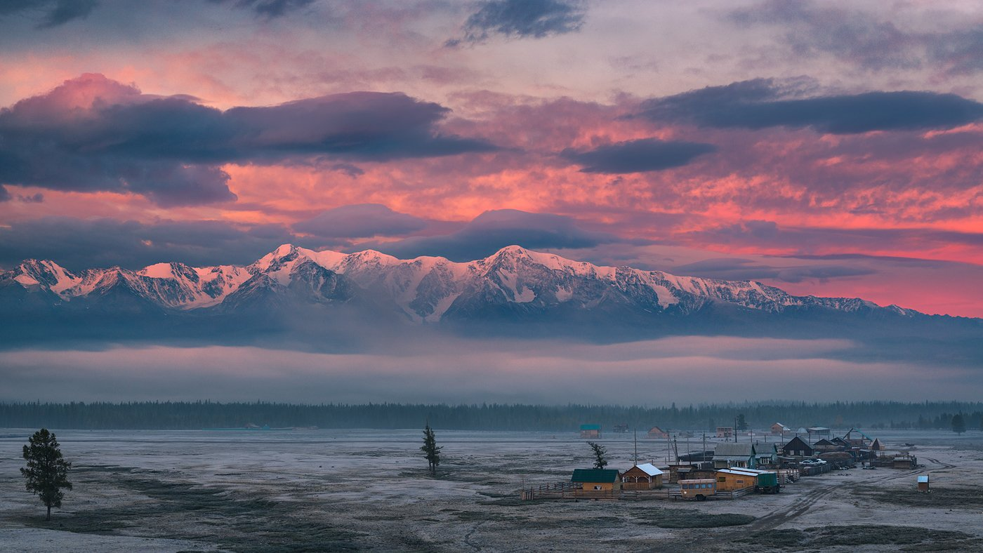 алтай, большой, восход, высокий, горы, заря, иней, красивый, красный, пейзаж, природа, рано, рассвет, розовый, синий, снег, степь, утро, холодный, хребет, Дмитрий Антипов