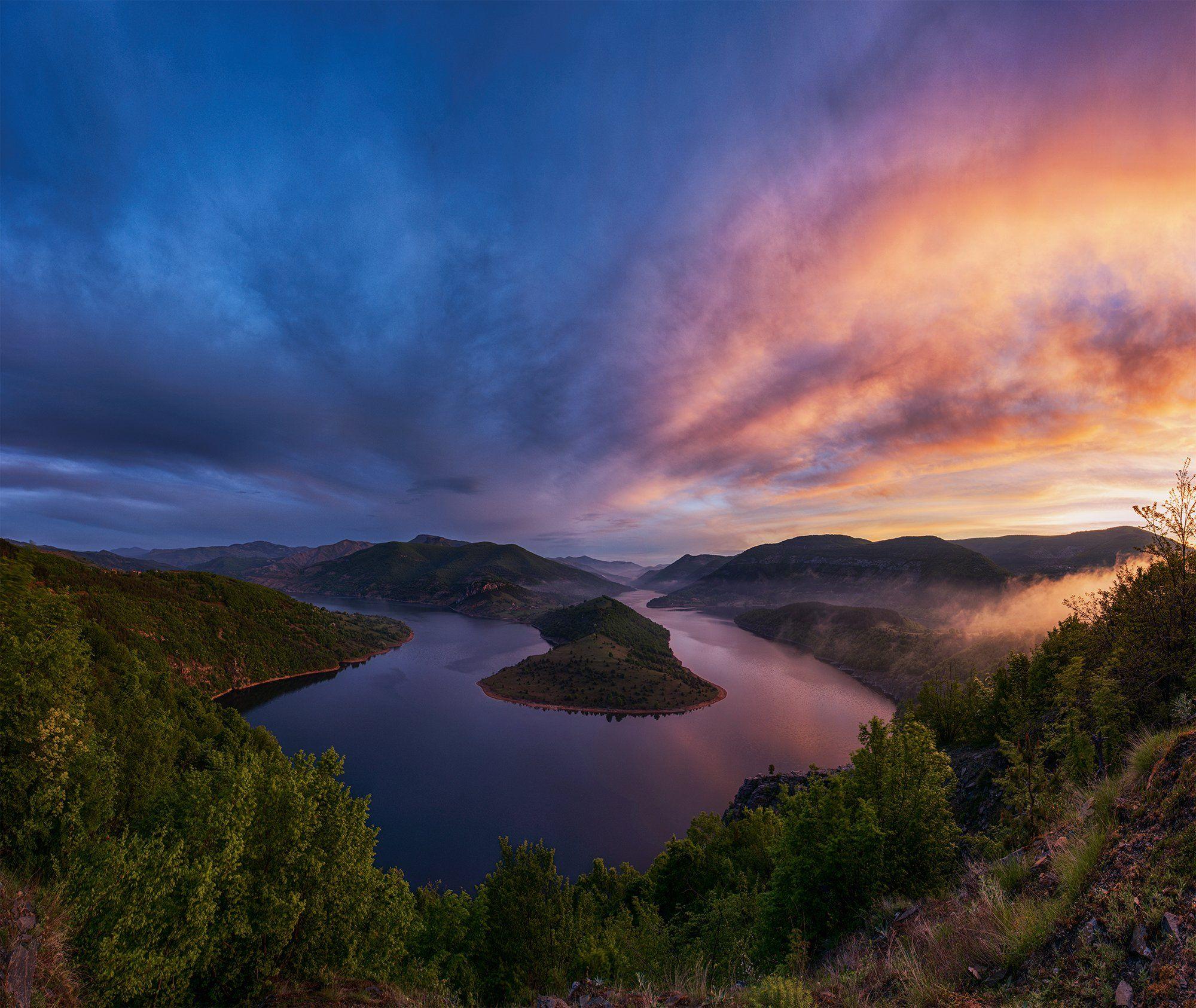 landscape, nature, meander, sky, bulgaria, summer, river, sunrise, Руслан Асанов