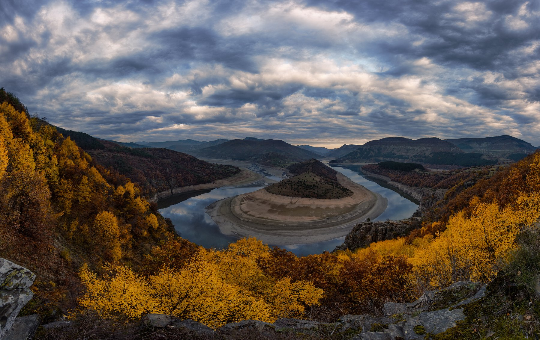 landscape, nature, meander, sky, bulgaria, autumn, river, sunrise, Руслан Асанов