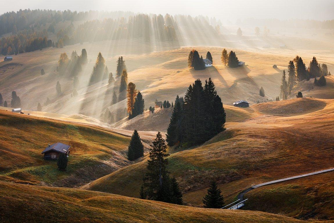 Alps, Autumn, Dolomites, Europe, Fall, Huts, Italy, Light, Meadow, Mountains, Trees, Martin Rak
