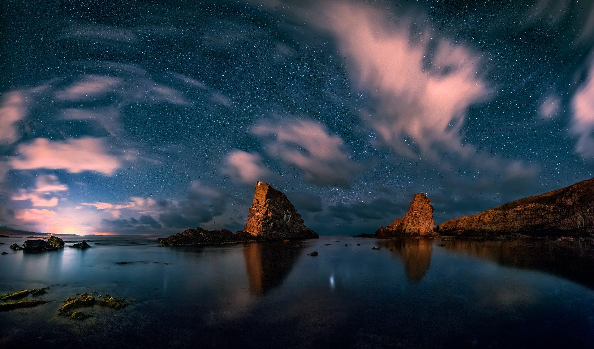 sea, rocks, landscape, night, stars, bulgaria, two ships, Руслан Асанов