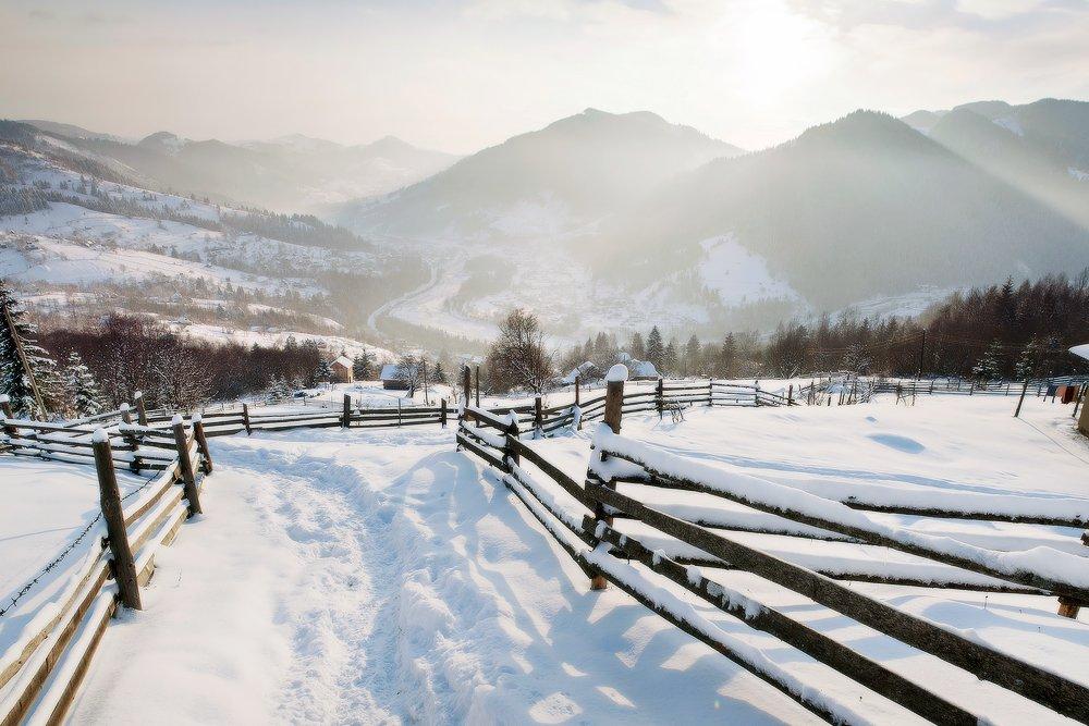 Карпаты, горы, рассвет, утро, пейзаж, панорама, зима, снег, Piligrim