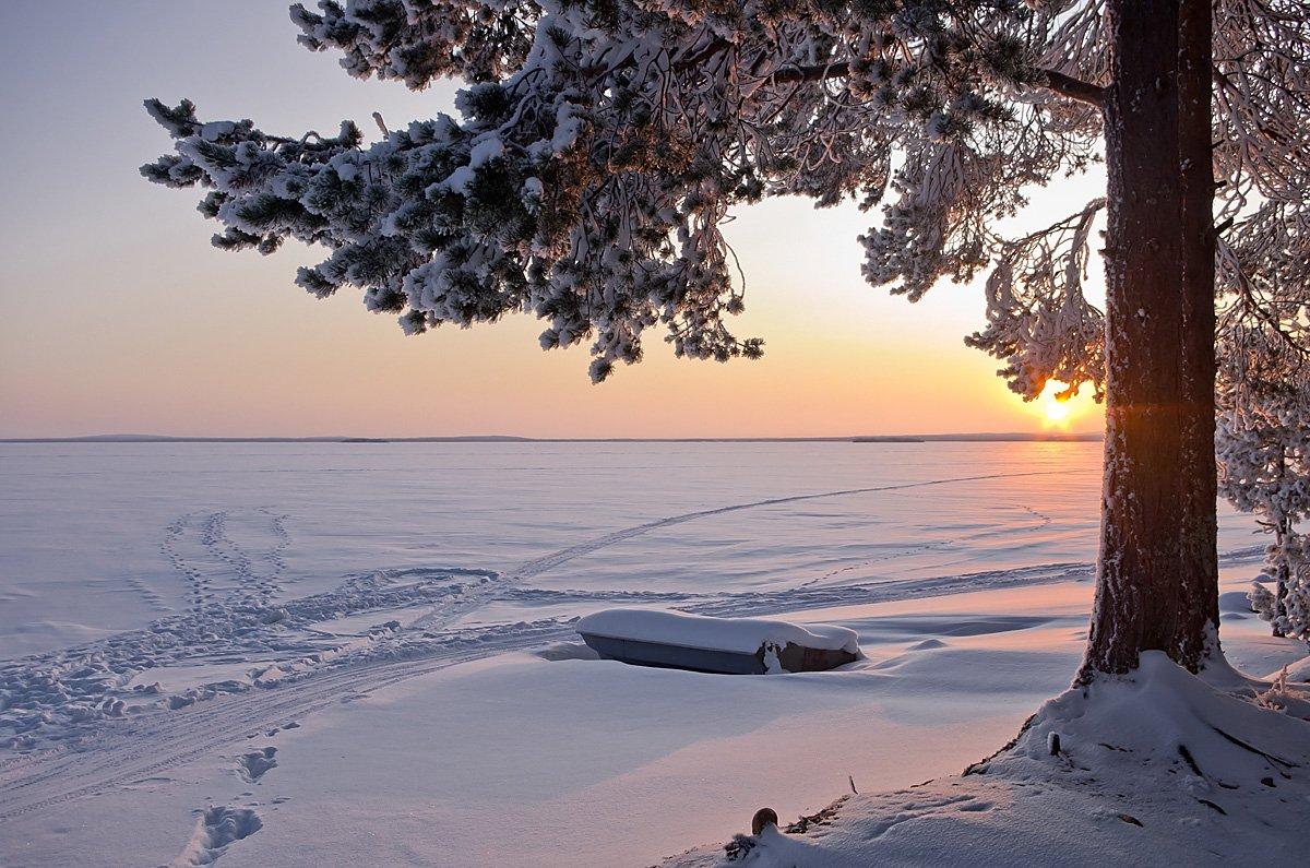 Куйто, Карелия, север, зима, снег, лодка, Ирина Белотурова