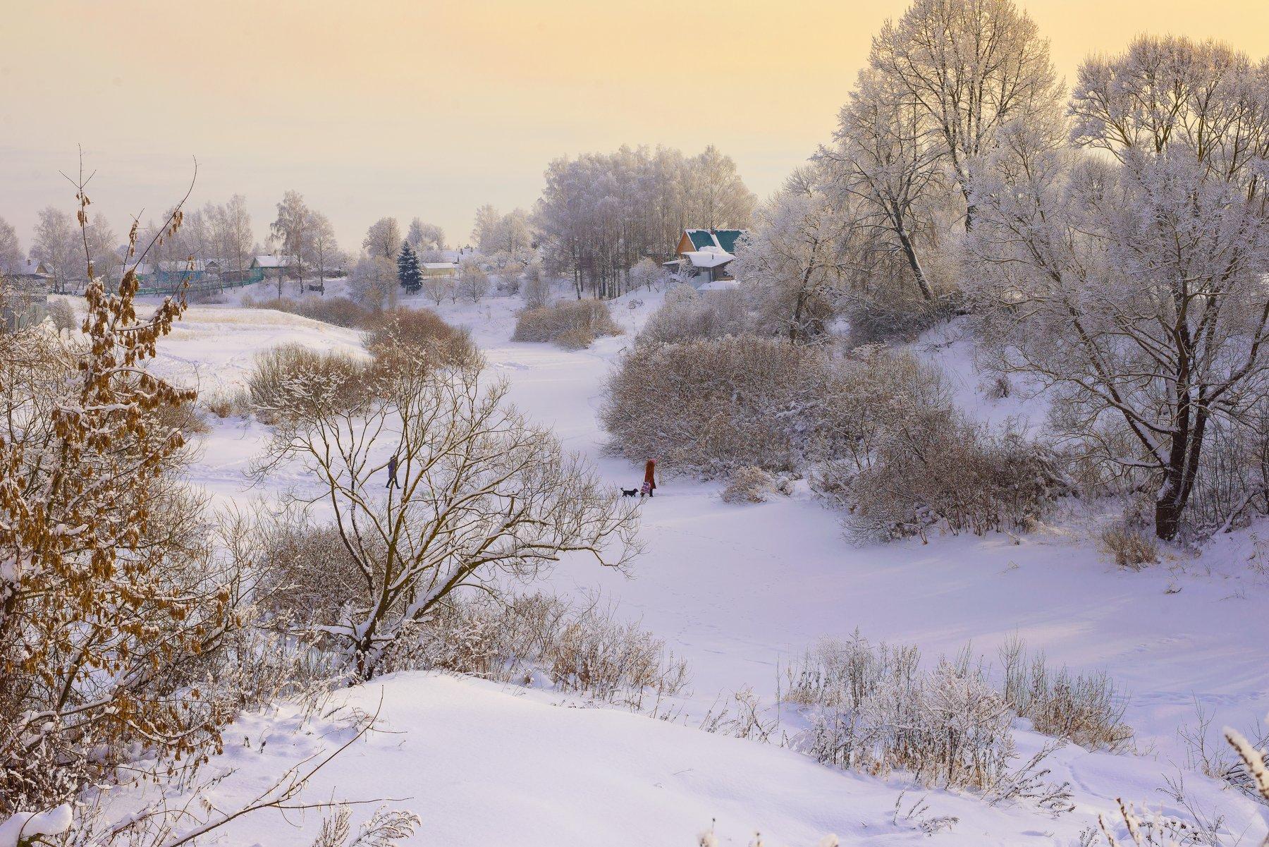 деревенский пейзаж, деревья в инее, зима, пейзаж, мороз,пейзаж,река,снег, смоленская область, сугробы, россия, небо,, Лидия Киприч