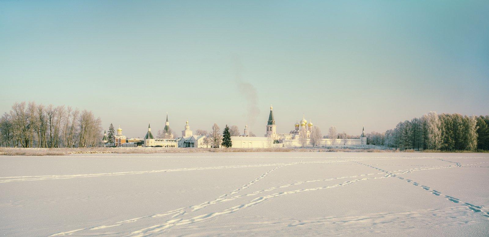 Пейзаж, природа, Валдай, зима, утро, монастырь, панорама, Ефимов Александр