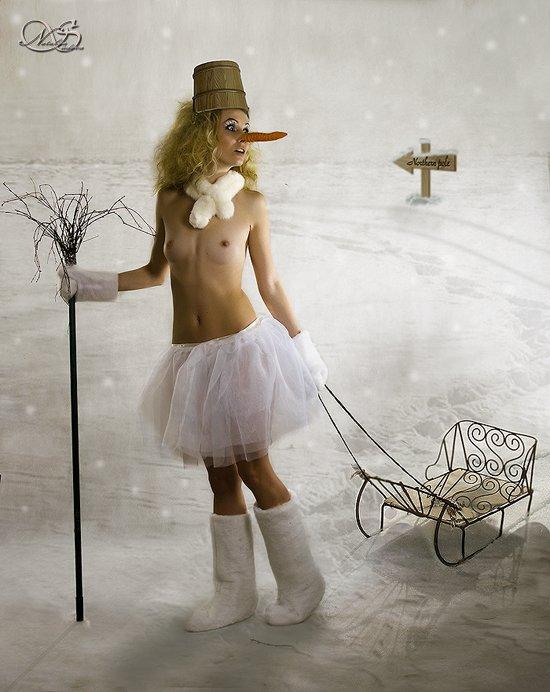морковка, сани, снеговик, зима, LuNatik (Наталья Судова)