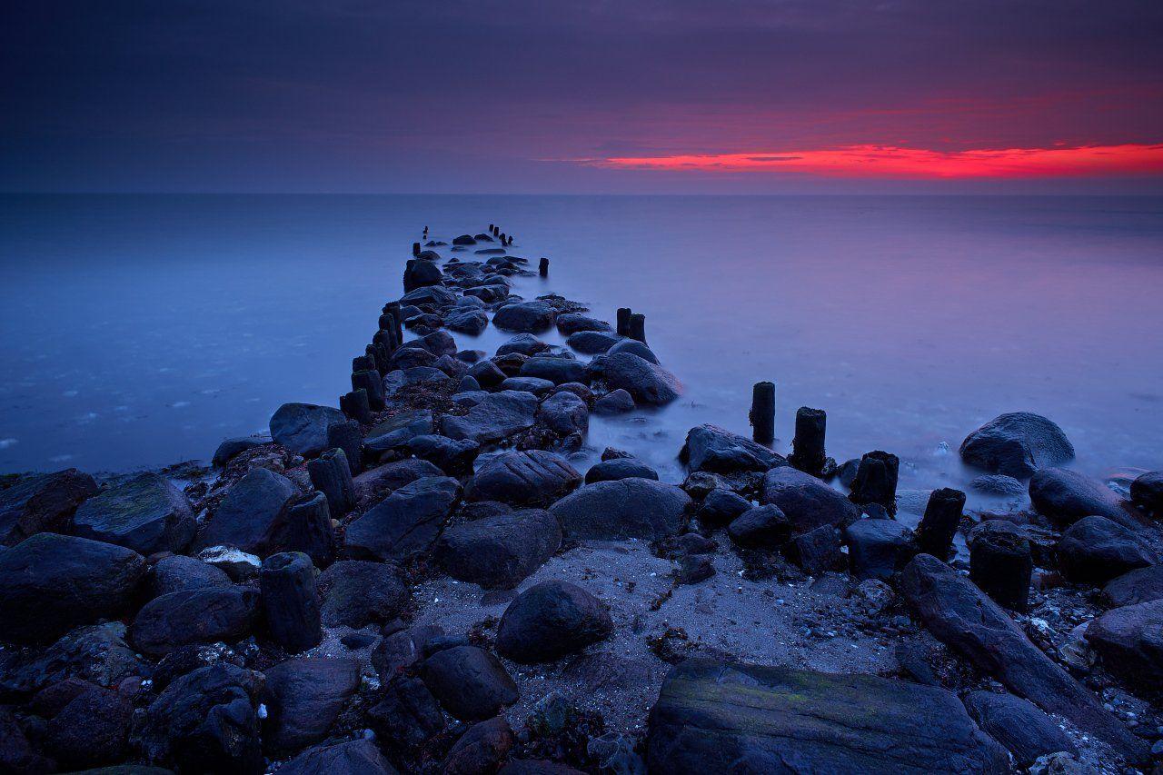 sunrise, ostsee, baltic, sea, beach, red, blue, Dirk Juergensen