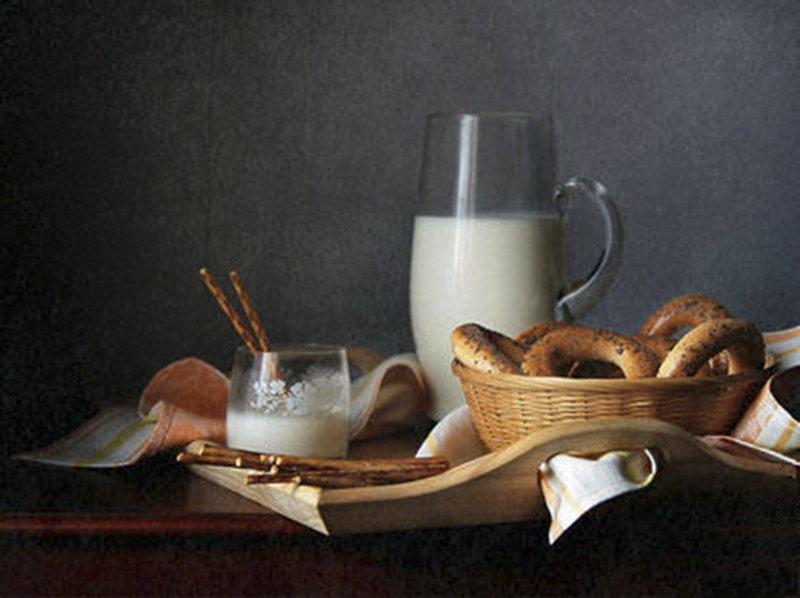Бублики, Завтрак, Кувшин, Молоко, Натюрморт, Фотонатюрморт, Svetlana Tkachenko