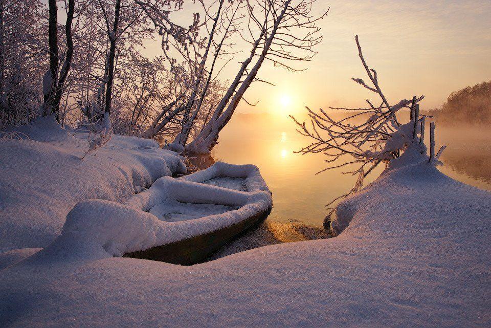 Зима, Лодка, Озеро, Снег, Шатура, Алексей Харитонов