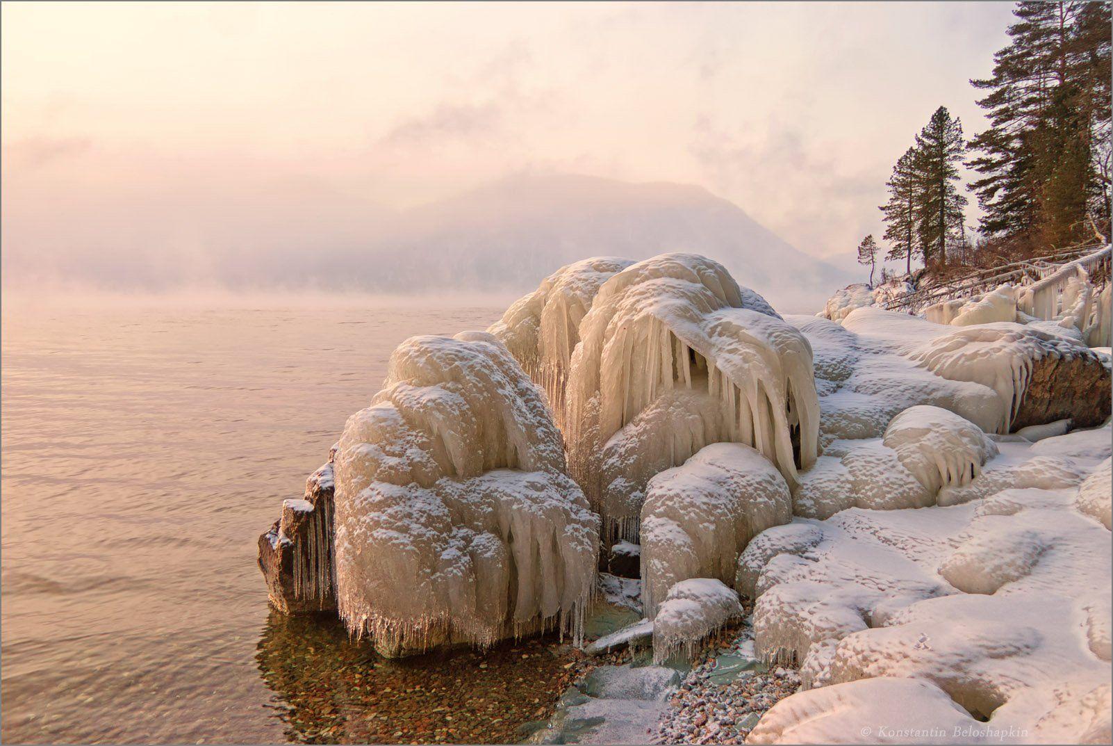 малая кобухта, телецкое озеро, телецкое, озеро, алтай, утро, мороз, Константин Белошапкин