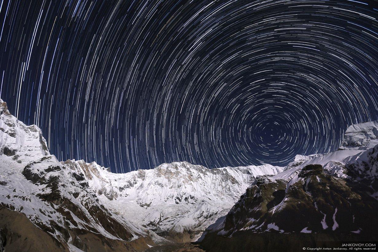 Непал, Гималаи, Аннапурна, ночь, звезды, полнолуние, луна, горы, базовый лагерь, треккинг, трек, снег, зима, пейзаж, небо, Антон Янковой (www.photo-travel.com)