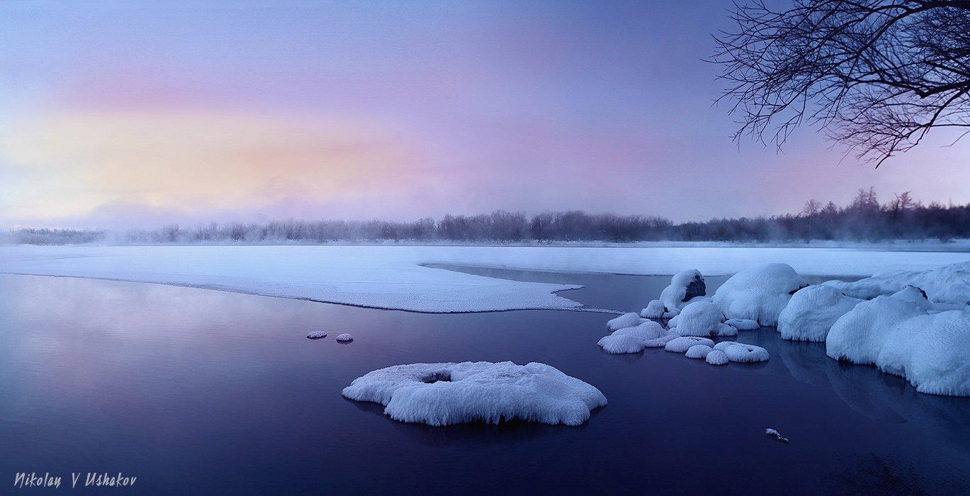 Камчатка река утро, Николай Ушаков (Graff)